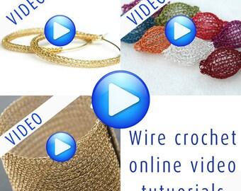 3 video tutorials for the price of 2 , PDF Tutorial, DIY Pattern, Crochet Beads, Wire Crochet Jewelry, DIY Tutorial,