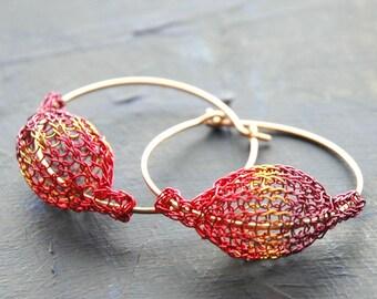 Fuchsia orange and purple pod earrings - Gypsy bohemian fashion