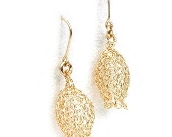 Dangle knitted gold earrings Pomegranate earrings Wire crochet handmade earrings unique gold filled jewelry