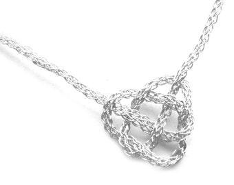 Silver Necklace CELTIC Heart Knot - Crochet Wire Jewelry, Celtic Knot , Romantic, Sentimental , I Love You