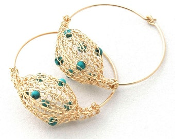 Wire crochet jewelry Turquoise jewelry, big gold hoop earrings, hippie earrings Turquoise Earrings , anniversary gifts