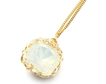 Swarovski glass necklace white opal Pendant necklace gold wire crochet pendant knitted sparkle jewelry bridesmaides gift