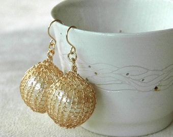 PEARL - Pearl dangle earrings , large white faux pearls , gold filled, crochet