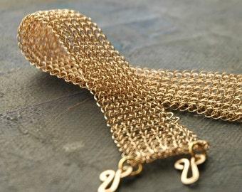 Gold crocheted bracelet  -  Grace