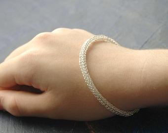 Silver bangle bracelet , wire crochet bracelet , handmade silver bangle , custom jewellery , summer fashion