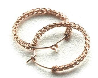 ROSE gold HOOP earrings , crocheted rose gold jewelry , medium hoops , rose gold hoops , Wire crochet earrings- Gypsy bohemian fashion