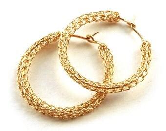 Medium crochet gold HOOP earrings handmade casual hoops unique hoop gold earring jewelry handmade fashion- Gypsy bohemian fashion