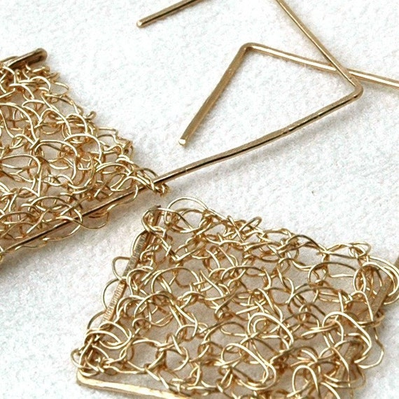 Chic Square Golden earrings - 0.8 x 1.8 inch