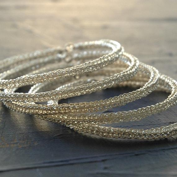 Sterling silver bangle bracelets , three 3 bangles, wire crochet