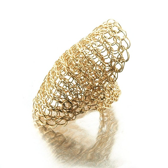 Crocheting Rings : ring , Wire crochet ring , Statement ring , Gold ring , Shield Ring ...