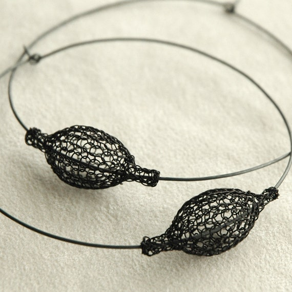 Giant Oxidized silver hoop earrings : XXL Black chic hoops - Pod on a hoop - Boho Earrings - Tribal earrings - anniversary gift