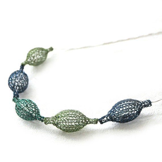 Wire crochet necklace, Blur green necklace organic necklace Handmade pod shape crocheted necklace in green and blue