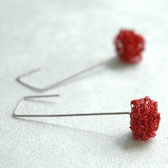 Urban jewelry Red earrings Long geometric earrings Wire work earrings Unique jewellery Sterling silver earrings Red box