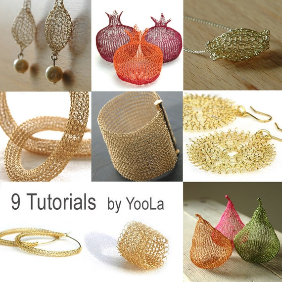 9 Wire Crochet Patterns how to crochet wire jewelry PDF patterns crochet wire work yoola tutorials ebook jewelry instructions