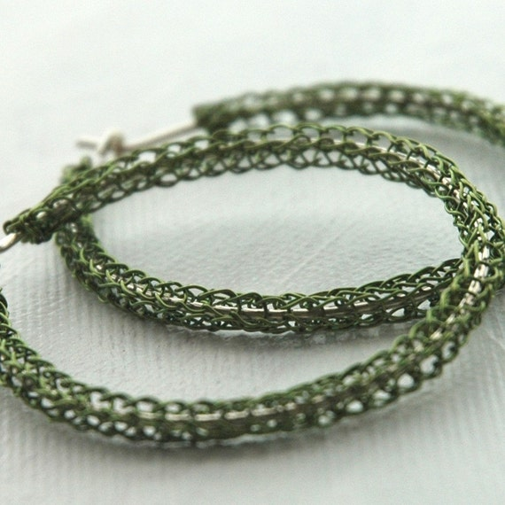 Large hoop earrings green hoops silver ear wire boho fashion color earrings wire crochet jewelery, Holiday - Gypsy bohemian fashion