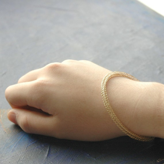 Gold filled Crochet bangle - one