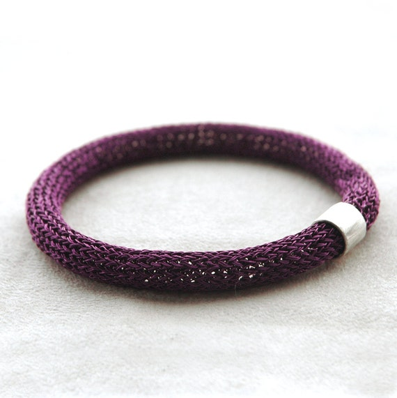 Bangle bracelets, chunky metal purple bracelet with a sterling tube bead