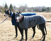 Greyhound-tested Winter Fleece Peacoat - to be custom-sized for your Greyhound or other Big Dog