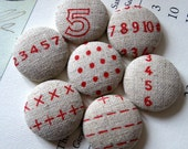 Big Fabric Magnets or Thumbtacks - Do the Math - numbers and mathematical symbols on natural linen