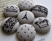 Big Fabric Pushpins or Magnets - Mix Royale - French crowns, lace and Eiffel Tower on natural linen - set of 7 in round tin