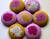 Big Fabric Magnets or Thumbtacks - Roses - pink and mustard yellow linen blend