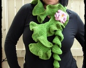 Instant Download PDF Pattern . Crochet Hyperbolic scarf WITH crochet flower Brooch