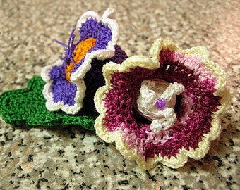 INSTANT DOWNLOAD, two variants of Beautiful Gloxinia. Applique, Brooch, Clipie, Embelishments. Tutorial instructions in PDF format