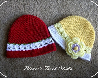INSTANT DOWNLOAD, Two patterns in one. Toddler Crochet Cloche or Beanie with a flower.