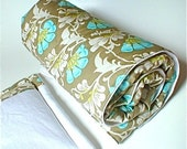 SALE  - sage Flower - organic cotton bamboo fleece quilted blanket and pillow set -  BABY/TODDLER size