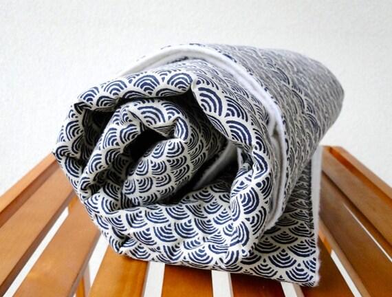 Kimono print organic cotton blanket and burp cloth gift set
