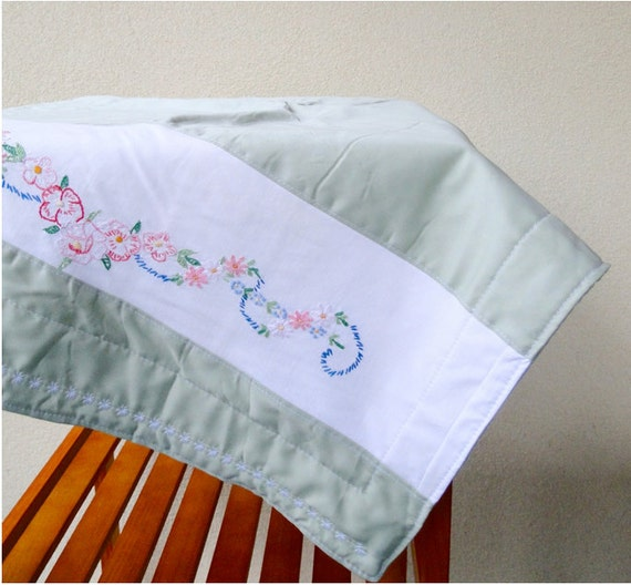 Heirloom organic cotton and vintage embroidery lap blanket