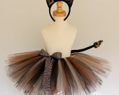 Cat Costume Halloween Tutu set with ears and tail, Cheetah or Leopard black animal tutu Older Girls size 7/8 -WILD THING