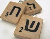 Hebrew Scrabble tile initial pendant