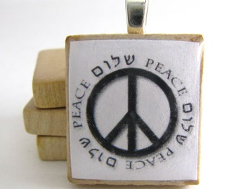 Shalom - Peace - Hebrew Scrabble tile pendant with peace sign