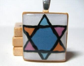 Star of David multicolor Scrabble tile pendant