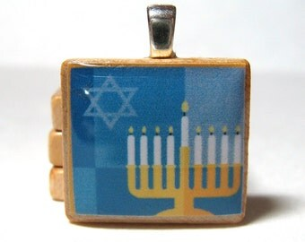Chanukah - Hanukkah -  Scrabble tile pendant - Menorah
