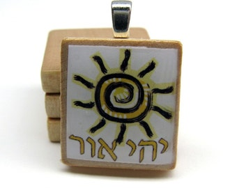 Let there be light - Yehi Or - Hebrew Scrabble tile pendant with folk art sun