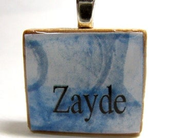 Jewish Scrabble tile - Zayde - Grandfather - with abstract blue background