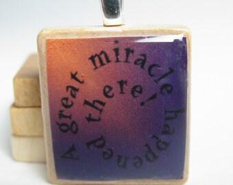 Chanukah - Hanukkah -  Scrabble tile pendant - miracle spiral in purple