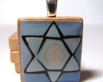 Star of David blue Scrabble tile pendant