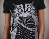 Samurai Owl - American Apparel Womens tshirt ( Owl t shirt )
