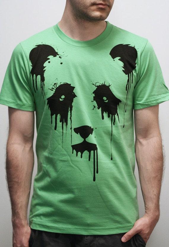 Vanishing Panda on American Apparel Mens t shirt / Unisex t shirt  with Eco Ink ( Panda t shirt )