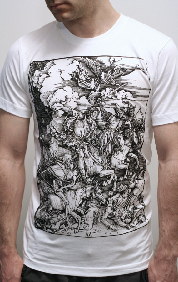Albrecht Durer Four Horsemen of the Apocalypse Men's graphic tee, gothic shirt, medieval woodcut, Gift for goths, metal shirt