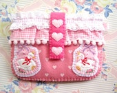Pink Lovely Hearts Lace Pompom Carousel Swan Phone Camera Felt Case