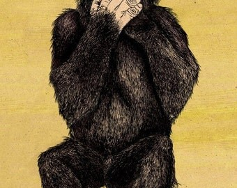 SPEAK NO EVIL 11x16.25 print signed and numbered. Backround color your choice (yellow, green, blue or pink).