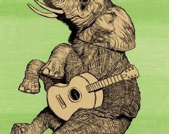 ELEPHANT TROUBADOR 11x16.25 print signed and numbered. Backround color your choice (yellow, green, blue or pink).