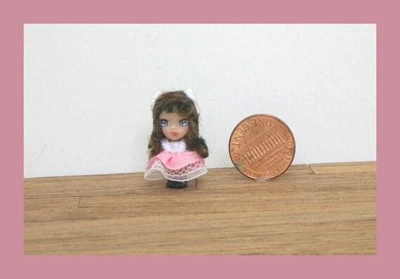 OOAK tiny miniature micro doll polymer clay  BIG EYED