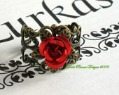 Now On Sale Romantic  Red Rose Antique Brass Ring RESERVE FOR CAROLINE