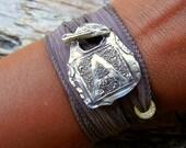 Eco Friendly Jewelry, Eco Friendly Bracelet, Eco Friendly Silk Wrap Bracelet, Recycled Silver Bracelet, Reclaimed Silver Jewelry,Fine Silver