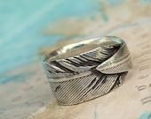 Gypsy Jewelry, Feather Jewelry, Gypsy Ring, Silver Gypsy Jewelry Feather Ring, Handmade Sterling Silver Feather Ring by HappyGoLicky Jewlry